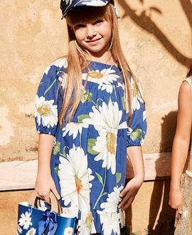 Vestido Niña MONNALISA Popelin Azul Margaritas