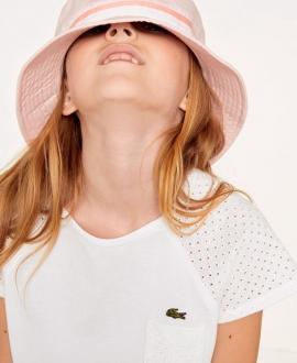 Camiseta Niña LACOSTE Blanca Hombros Perforados