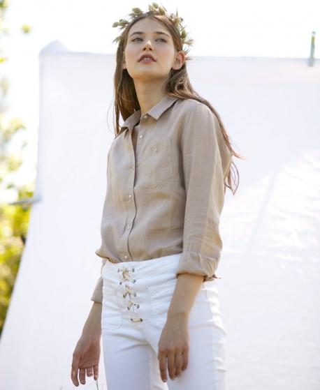 Camisa Sastre Mujer CASILDA Y JIMENA Lino Natural