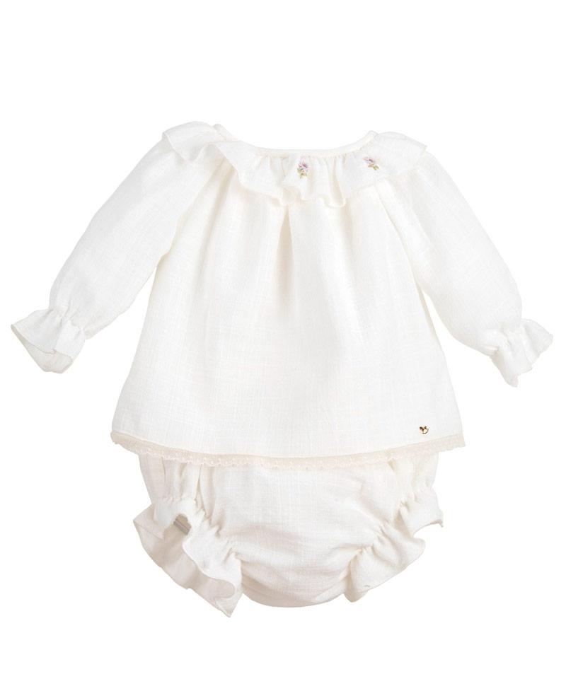 Vestido Niña CASILDA Y JIMENA Lino Natural Nude - Ro Infantil