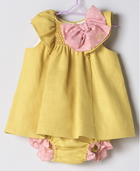 Mini Braguita Lino Amarillo Bebé Niña NANOS
