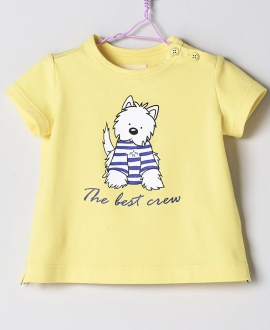 Camiseta Punto Amarillo Bebé Niño NANOS Perro