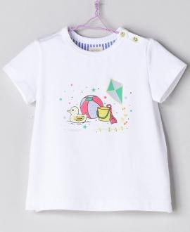 Camiseta Blanco Bebé Niño NANOS Playa