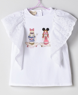 Camiseta Blanco Niña NANOS Volantes
