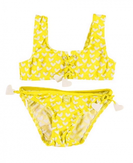 Bikini Niña AL AGUA PATOS Corazones Amarillo