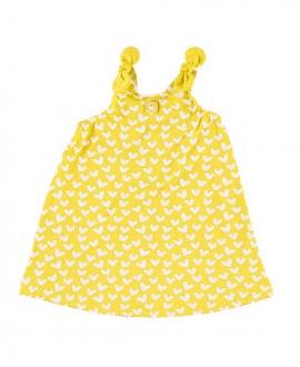 Vestido Niña Lycra AL AGUA PATOS Corazones Amarillo