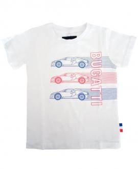 Camiseta Niño BUGATTI Blanca 3 Coches
