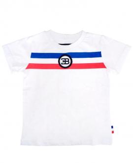Camiseta Niño BUGATTI Blanca Franjas