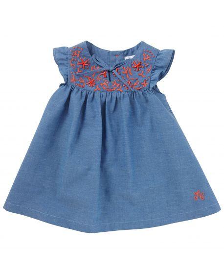 Vestido Tartine et Chocolat Bebé Niña Azul Detalles Rojos