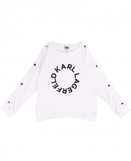 Camiseta Niña KARL LAGERFELD Blanca Logo