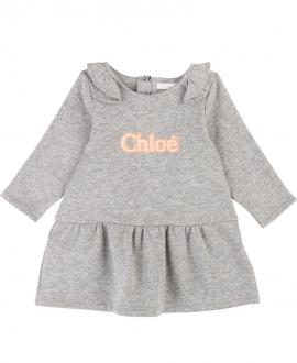Vestido Bebé Niña CHLOÉ Gris Logo