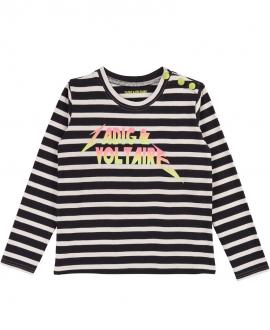 Camiseta Niña ZADIG & VOLTAIRE Rayas Logo Neon