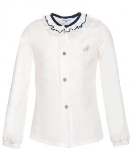 Camisa Niña MONNALISA Blanca Cuello Encaje
