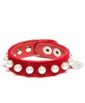 Brazalete Niña MONNALISA Terciopelo Rojo Perlas