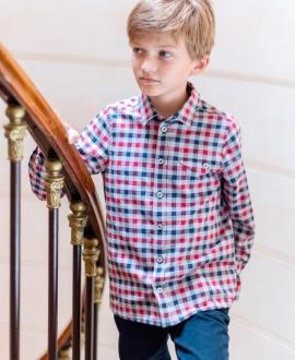 Camisa Niño TARTINE ET CHOCOLAT Cuadros Burdeos