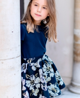 Falda Niña TARTINE ET CHOCOLAT Jacquard Floral Marino