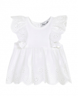 Camiseta Bebé Niña TARTINE ET CHOCOLAT Blanca Perforada