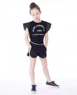 Camiseta Niña KARL LAGERFELD Negra Mangas Perforadas