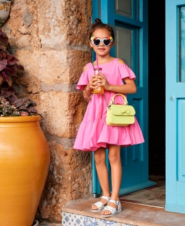 Vestido Niña MONNALISA Rosa Escote Ensanchado