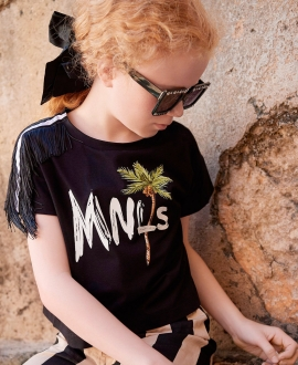 Camiseta MONNALISA Negra Hombro Flecos