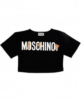 Camiseta Niña MOSCHINO Corta Negra LOGO Oso