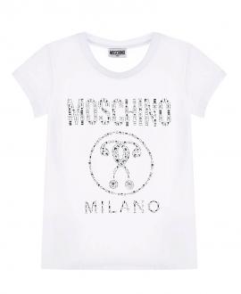 Camiseta Niña MOSCHINO Blanca Pedrería