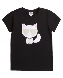 Camiseta Niña KARL LAGERFELD Negra Choupette