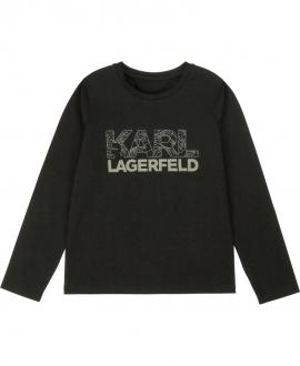 Camiseta Niña KARL LAGERFELD Negra Logo Brillo