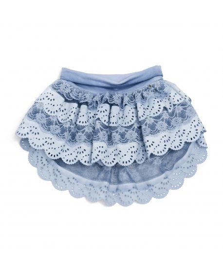 Falda Microbe Niña Azul Volantes