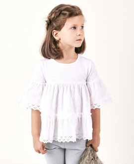 Camiseta Niña TARTINE ET CHOCOLAT Blanca Detalles Perforados