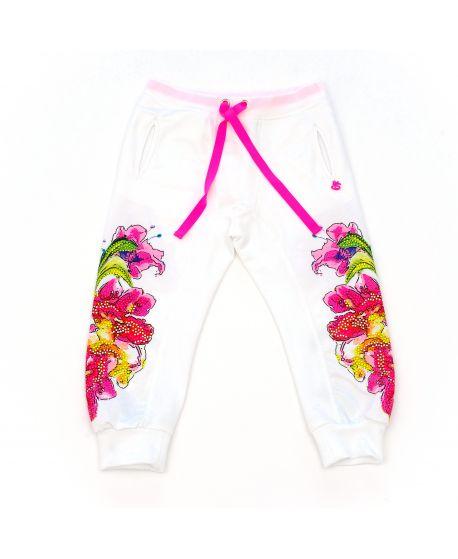 Pantalón So Twee Niña Flores Blanco