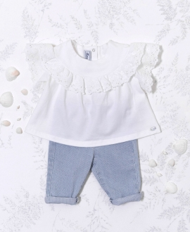 Camiseta Bebé Niña TARTINE ET CHOCOLAT Blanca Detalles Perforados