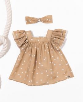 Vestido Bebé Niña TARTINE ET CHOCOLAT Camel Lunares