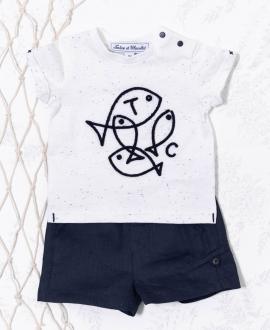 Camiseta Bebé Niño TARTINE ET CHOCOLAT Blanca Peces Bordados