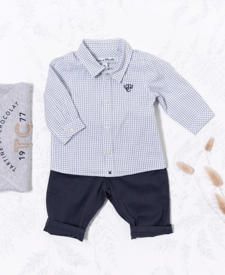 Camisa Bebé Niño TARTINE ET CHOCOLAT Marino Cuadros