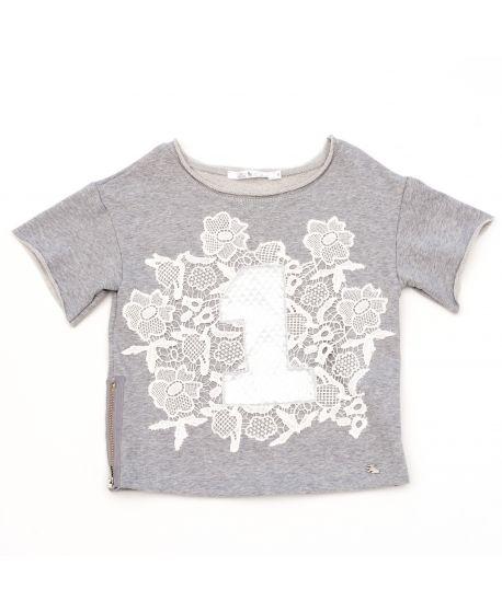 Camiseta L:U L:U Niña Gris Claro Nº1
