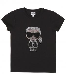 Camiseta Niña KARL LAGERFELD Negra Strass