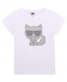 Camiseta Niña KARL LAGERFELD Blanca Strass