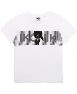Camiseta Niño KARL LAGERFELD Blanca Ikonik