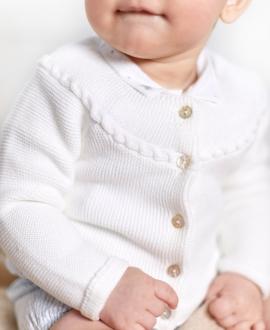 Cárdigan Bebé TARTINE ET CHOCOLAT Punto Ochos Blanco