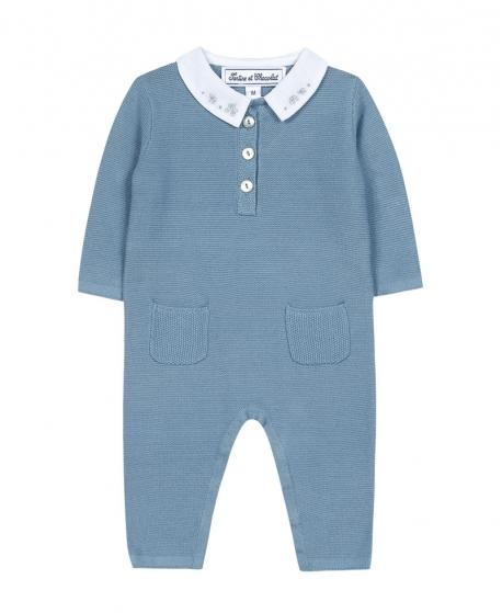Pelele Bebé Niño TARTINE ET CHOCOLAT Azul Cuello Bordado