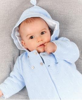 Abrigo Bebé TARTINE ET CHOCOLAT Punto Trenzado Azul