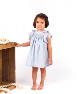 Vestido Bebé Niña TARTINE ET CHOCOLAT Azul Ribete