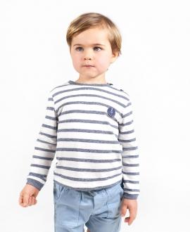 Camiseta Bebé Niño TARTINE ET CHOCOLAT Jaspeado Azul Rayas
