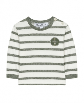 Camiseta Bebé Niño TARTINE ET CHOCOLAT Jaspeado Verde Rayas