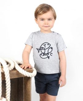 Camiseta Bebé Niño TARTINE ET CHOCOLAT Gris Peces Bordados