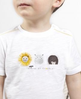 Camiseta Bebé Niño TARTINE ET CHOCOLAT Blanca Animales