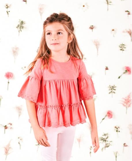 Camiseta Niña TARTINE ET CHOCOLAT Rosa Detalles Perforados
