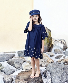 Vestido Niña TARTINE ET CHOCOLAT Marino Flores Bordadas