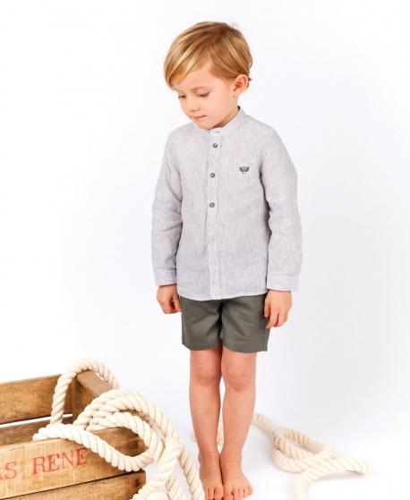 Camisa Bebé Niño TARTINE ET CHOCOLAT Kaki Cuello Mao